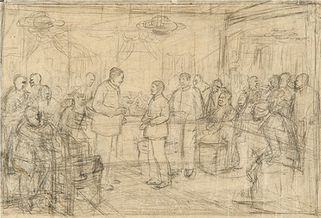 Lin Gang, sketch for 'Zhao Guilan at the conference of outstanding workers'