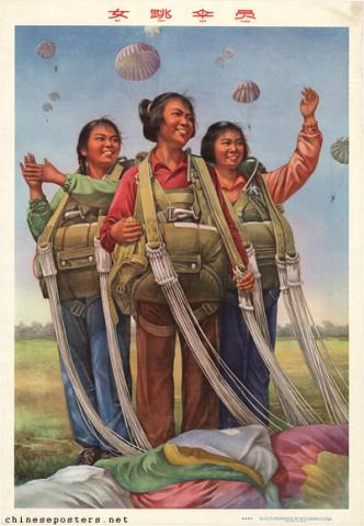 Female parachuters