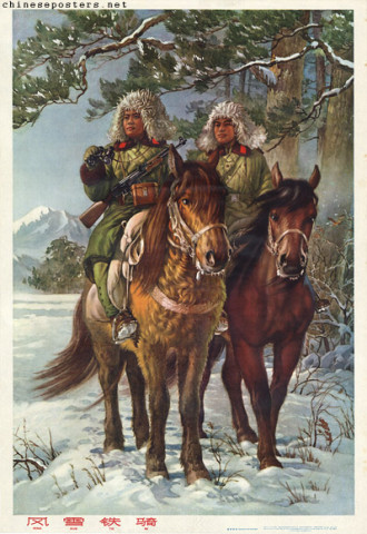 The cavalry in wind and snow