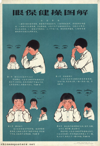Explanatory chart for exercises to protect the eyes